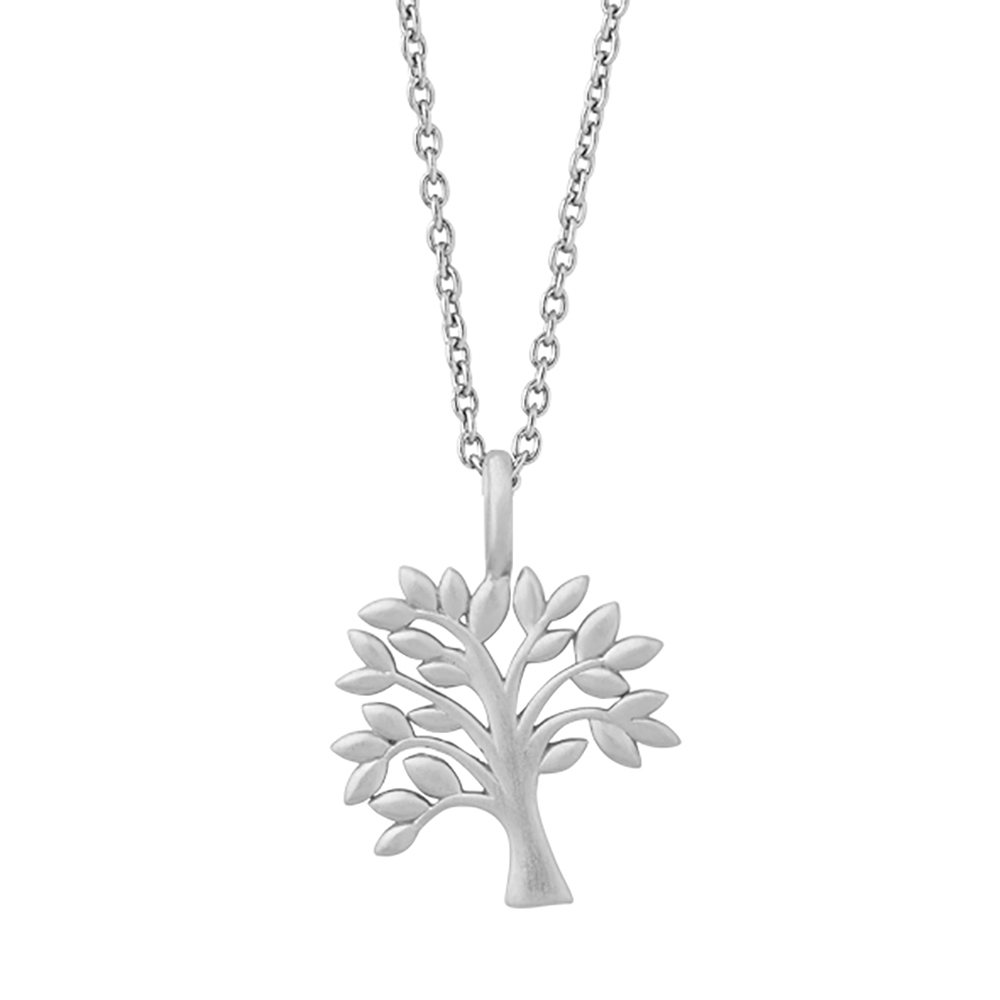 Tree of life pendant Necklace 45 cm - Silver