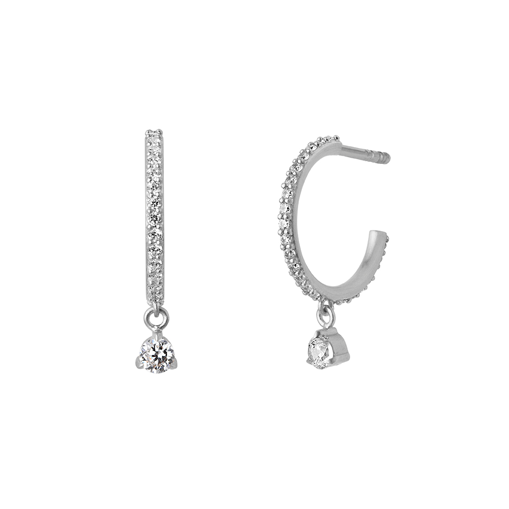Sparkle hoops mini dangling stones - Silver